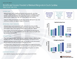 Click for the pdf Quick Facts About SC Medicaid Benefits and Services Provided to Recipients for SFY2016
